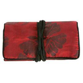 Trousse à bijoux en soie rouge et noir