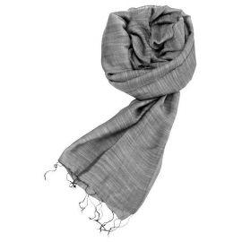 Echarpe soie et coton gris taupe