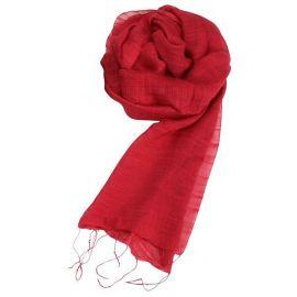 Echarpe soie et coton rouge framboise