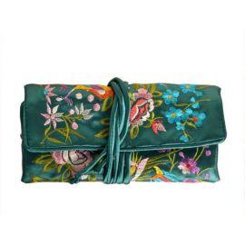 Trousse à bijoux en soie turquoise