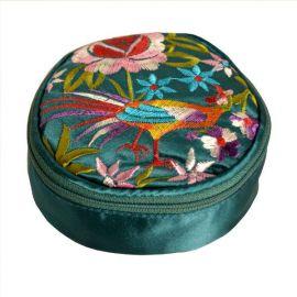 Trousse à bijoux ronde en soie bleue avec miroir