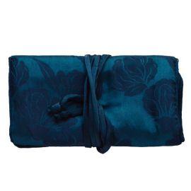 Trousse à bijoux en soie bleu pétrole