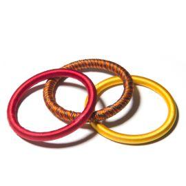 Set de 3 bracelet en fil de soie - moutarde