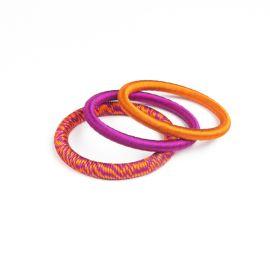 Set de 3 bracelet en fil de soie -fuchsia/orange