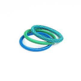 Trio de bracelets en fil de soie - bleu/vert